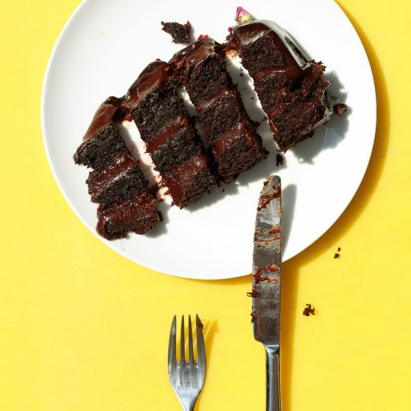 chocolate cake with yellow background