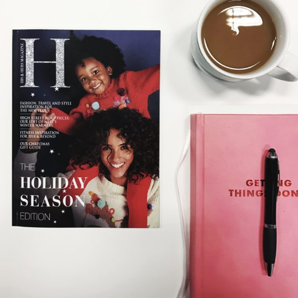 his and hers magazine flat lay